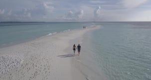 Paare, die entlang den Strand gehen stock video