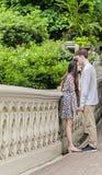 Paare, die im Central Park küssen Lizenzfreies Stockbild