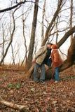 Paare, die im Holz küssen stockbilder