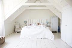 Paare, die im Licht und in Airy White Bedroom schlafen stockbild
