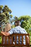 Paare, die im Park auf Bank sich entspannen Stockfotografie