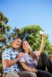 Paare, die im Park auf Bank sich entspannen Lizenzfreies Stockbild