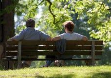 Paare, die im Park sich entspannen stockbild