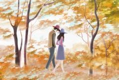 Paare, die im Wald - grafische Malereibeschaffenheit gehen Stockbild