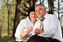Paare, die im Wald picnicking sind Stockfotos