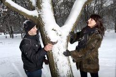 Paare, die im Winterpark spielen Stockbild