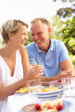 Paare, die Mahlzeit im Garten genießen Lizenzfreie Stockfotos