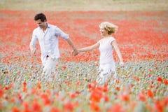 Paare, die in Mohnblumefeld-Holdinghände gehen lizenzfreies stockbild