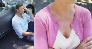 Paare, die nahe Auto sich ignorieren stock footage