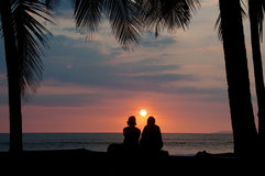 Paare, die tropischen Sonnenuntergang auf Strand anstarren Stockbilder
