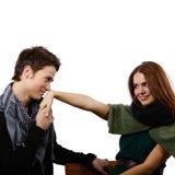 Paare, die Verbindung betrachten Stockfoto