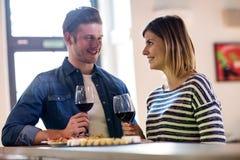Paare, die Weinglas am Zähler halten Lizenzfreie Stockfotos