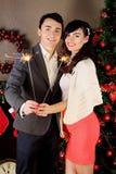 Paare, die Wunderkerzen halten lizenzfreie stockfotografie