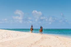 Paare, die zu Pferd entlang das Meer reiten Stockfotos