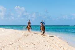 Paare, die zu Pferd entlang das Meer reiten Stockbild