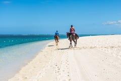 Paare, die zu Pferd entlang das Meer reiten Lizenzfreies Stockfoto