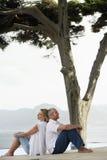Paare, die zurück zu Rückseite sitzen Stockbilder