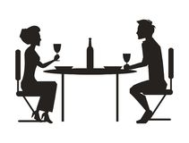 Paare, die zusammen auf Vektor-Illustration speisen vektor abbildung