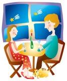 Paare, die zusammen speisen lizenzfreie abbildung