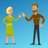 Paare in einem Kampf Vektorillustration des flachen Designs Lizenzfreies Stockbild