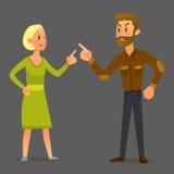 Paare in einem Kampf Vektorillustration des flachen Designs Stockbild