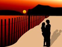 Paare in einem romantischen Abend Lizenzfreies Stockfoto