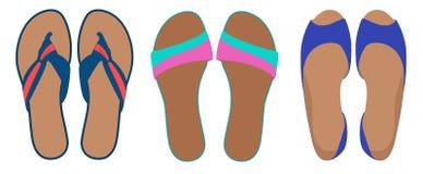 Paare Flipflops und Schuhe, lederne Pantoffel, Sommerzeit-Ferienattribut, Pantoffel, Schuhe, Illustration an lokalisiert vektor abbildung
