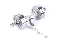 Paare Gewichte mit messendem Band Stockfoto