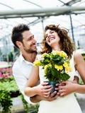 Paare haben den Spaß, der Blumentöpfe in einem Gewächshaus wählt stockbilder