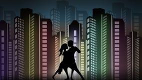 Paare im Liebestanzen nachts vektor abbildung