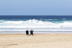 Paare im Ruhestand, die auf dem Strand sitzen Lizenzfreies Stockfoto