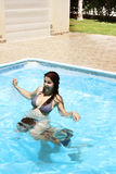Paare im Swimmingpool Stockfotografie