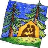 Paare im Zelt Stock Abbildung