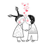 Paare küssen rotes Herz-Form-Liebes-Händchenhalten Lizenzfreie Stockbilder