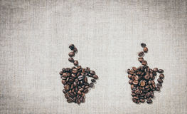 Paare Kaffeetassen Das Dekorationsmenü im Café Lizenzfreies Stockbild