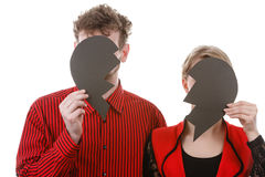 Paare mit Auseinanderfallen des defekten Herzens Stockfotografie