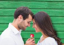 Paare mit Blume mit grünem hölzernem Hintergrund Stockfotos
