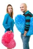 Paare mit Farben-Teddybärinneren Stockfotos