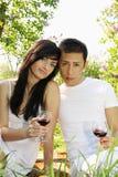 Paare mit Gläsern Wein lizenzfreies stockbild