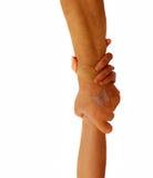 Paare mit Handdem anhalten Stockfoto