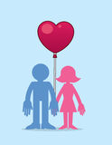 Paare mit Herz-Ballon Lizenzfreies Stockfoto