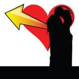 Paare mit Herzillustration Lizenzfreie Stockfotografie