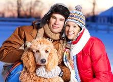 Paare mit Hund Stockbilder