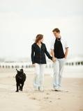 Paare mit Hund auf Strand Lizenzfreies Stockfoto