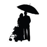 Paare mit Kinderwagenschattenbild Lizenzfreie Stockfotos