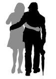 Paare mit Regenschirm vektor abbildung