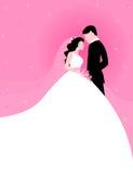 Paare mit rosafarbenem Hintergrund Lizenzfreies Stockbild