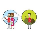 Paare oder einzelnes, modisches Karikaturmädchen und Junge, Frau und Mann, Unholde Stockfotos