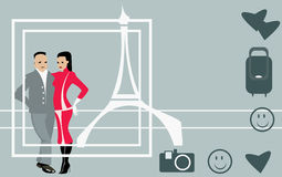 Paare in Paris vektor abbildung
