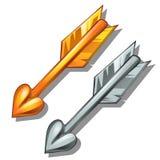 Paare Pfeile, Gold und Silber Klassische Waffe des Amors Vorzügliche Munition Vektor in der Karikaturart lokalisiert Stockfotografie